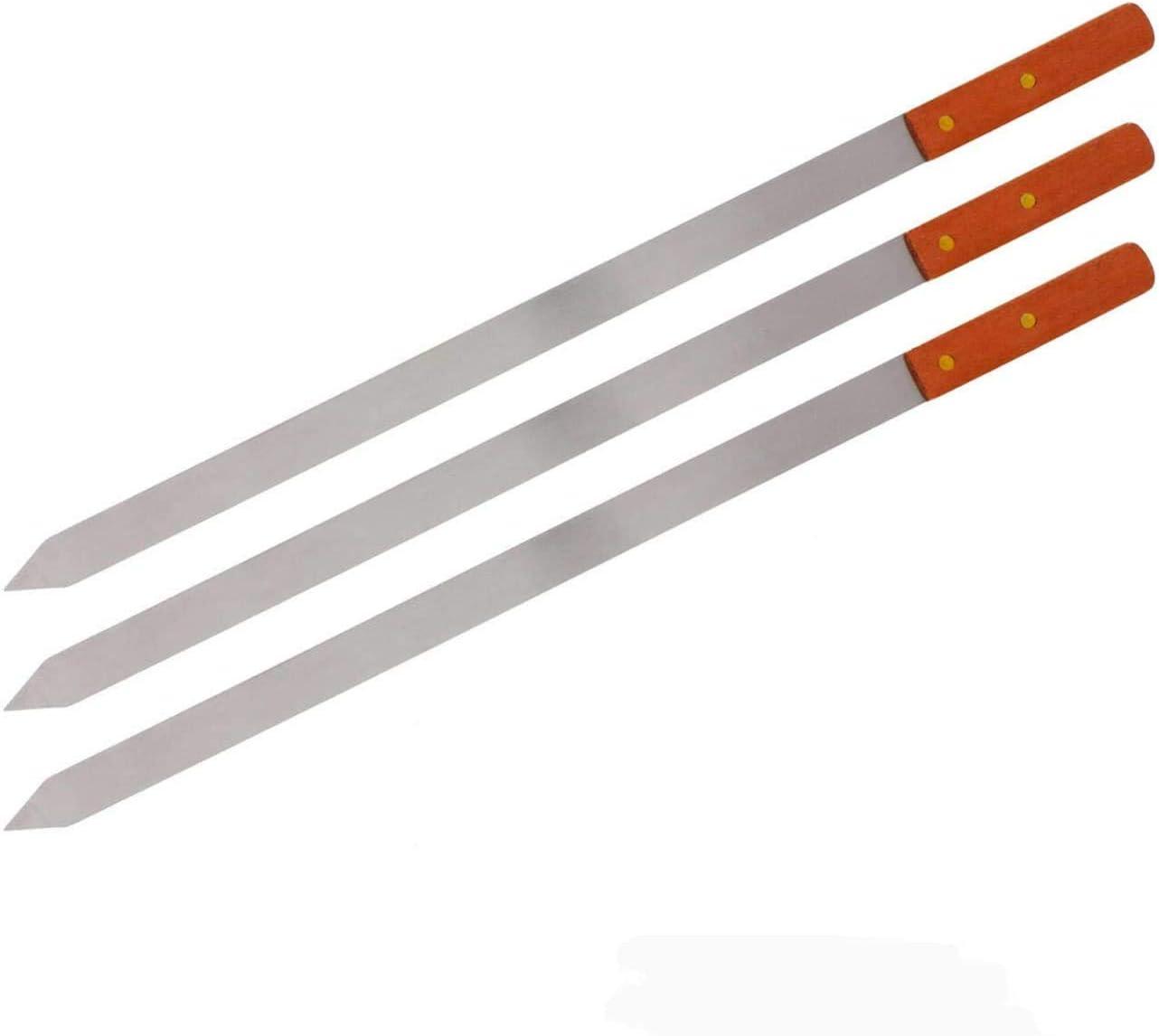 pack of 12 WOODEN HANDEL Set of 2 4 6 8 12BBQ Grilling Kebab Skewers Flat Reusable Metal Skewer Sticks for BBQ Party Essentials Shish Kabob 58CM LONG Cocktail LONG BBQ Barbecue Skewers
