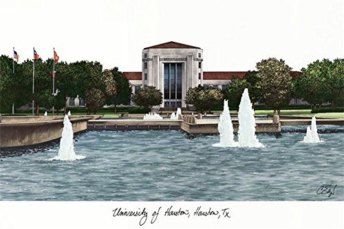 Houston Lithograph Framed (University of Houston Lithograph Print Photo)