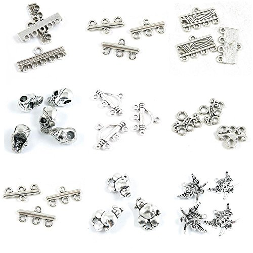 (30 Pieces Antique Silver Tone Jewelry Making Charms Pirate Skull Mouse Rat 3 Strand Connector Separator End Bars Vine Loose Beads 4 5)