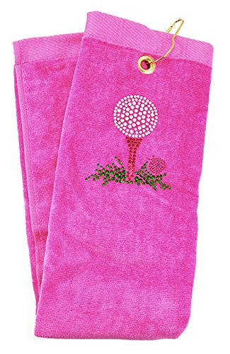 Navika Pink Golf Tee Towel Accented with Crystals