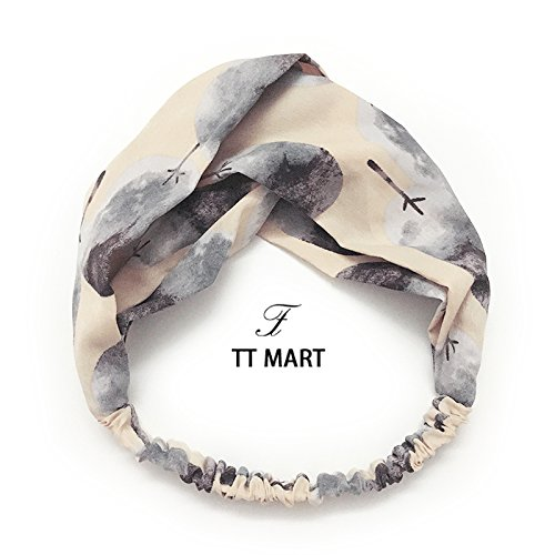 Korea imported custom spring and summer apricot cashew tree abstract literary arts printing broadside cross hair band hair accessories hair rope