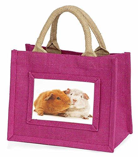 Advanta–Mini Pink Jute Tasche Guinea Pig Print Little Mädchen klein Einkaufstasche Weihnachten Geschenk, Jute, pink, 25,5x 21x 2cm