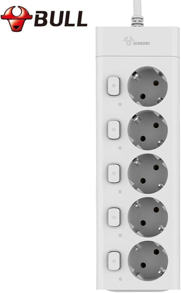 2500W//10A GONGNIU Multiprises Rallonge Electrique 5 Prises avec 5 Interrupteurs individuels et Cordon de 3m