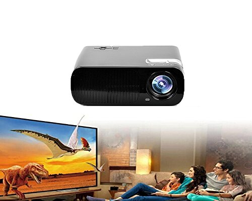 Aketek latest Fashionable HD 2600 Lumens 800x480 Support 1080p Projector with HDMI,VAG, TV or DTV ,YPBPR ,USB, AV, SD Input-Black