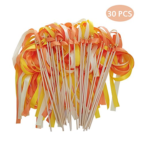 Hangnuo 30 Pack Wedding Wands Ribbon Streamers with Bell Fairy Stick Party Favor for Baby Shower Holiday Celebration, Orange