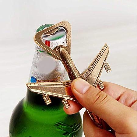 KINHARD Abridor de Botellas de Cerveza Abrebotellas de Avión - Interesante Abrebotellas con Exquisito Empaque, se Puede Utilizar para Celebraciones, Fiestas, Regalos, Coleccionables (Dorado)
