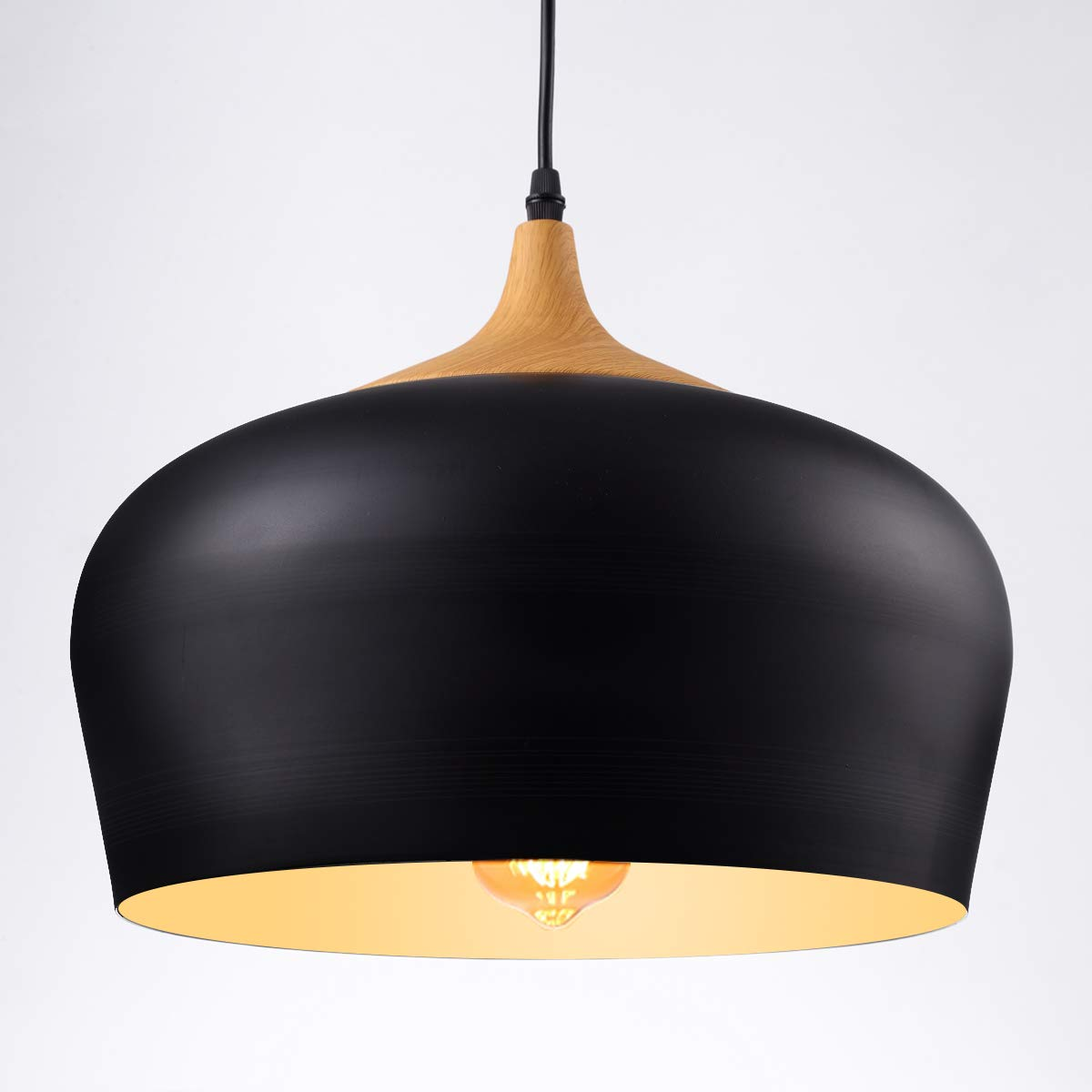HOMIFORCE Vintage Style 1 Light Large Black Dome Pendant Light with Metal Shade in Matte-Black Finish-Modern Industrial Edison Style Hanging CL000502(Kopff Black) by HOMIFORCE