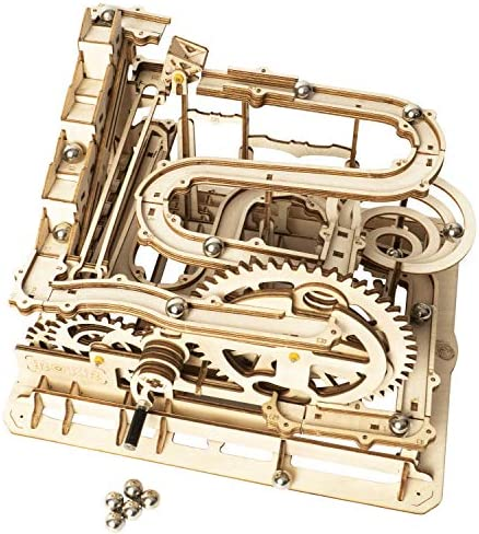 ROKR Marble Run Wooden Model Kits 3-d Puzzle Mechanical Puzzles for Teens and Adults(Waterwheel Coaster)