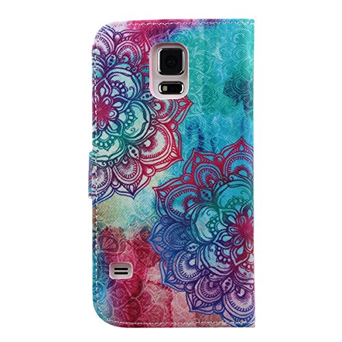 Funda para Samsung Galaxy Note 5, Galaxy Note 5 Flip funda de cuero PU, Galaxy Note 5 Funda Stand Protectora Carcasa Leather Wallet Case Cover Skin Shell Carcasa Funda, Ukayfe Cubierta de la caja Fund Flor Roja