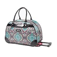 Kathy Van Zeeland Luggage 22 Inch Rolling Carry On Printed Wheeled Duffel (One Size, Purple Paisley)