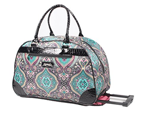 (Kathy Van Zeeland Women's 22 Inch Printed Rolling Carry-On (One Size, Purple Paisley II))