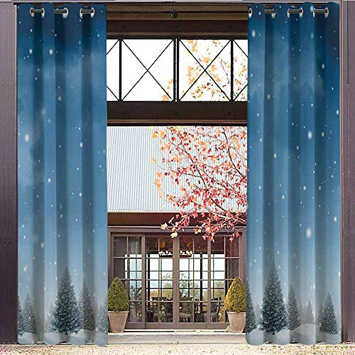 Peace Silk Inspired Top (hengshu Winter Wear-Resistant Color Curtain Christmas Inspired Cold Blue Forest of Pine Trees on a Snowing Holiday Night Sky 2 Panel Sets W84 x L84 Inch)