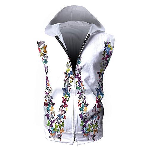 Men's Sweatshirt Vest,Letter W,Collection of Butterflies Language of Grace Alpha