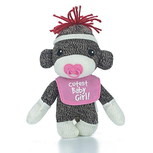 Sockiez Sock Monkey Baby Sockie, 6 Inches with Message on Bib (Cutest Baby -