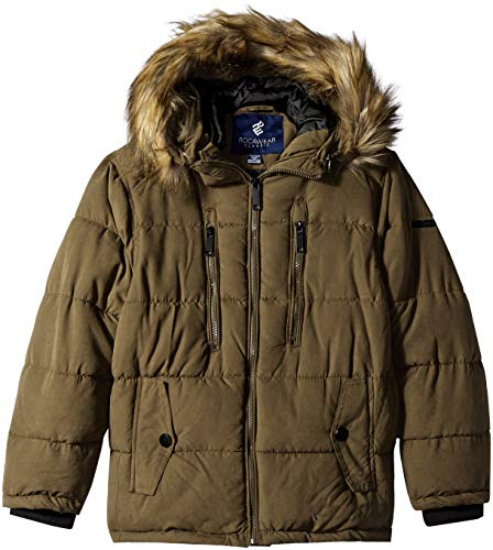 Rocawear Boys' Big Hooded Bubble Jacket, Taupe, - Jacket Bubble