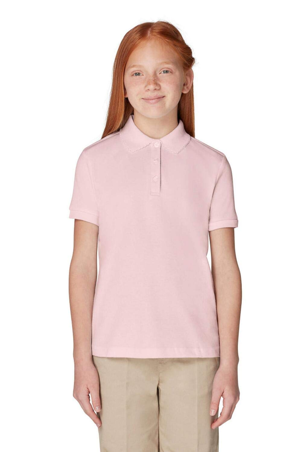 French Toast Big Girls' Short Sleeve Interlock Polo with Picot Collar, Pink, Large/10/12