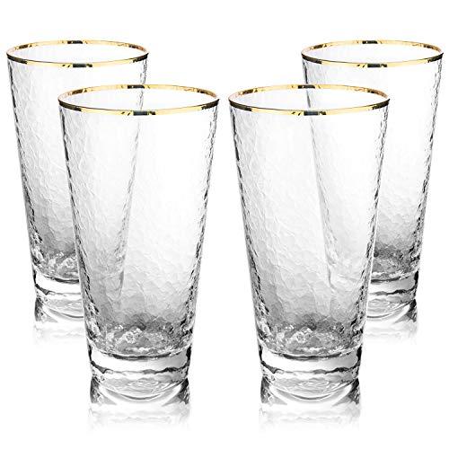 MyGift 12 oz Gold Rim Hammered Highball Glasses, Set of 4