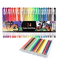 ZSCM 48 Glitter Gel Pens Fine Point Markers Art Set 24 Colored Pen with 24 Refills for Unique Colors for Adult Bullet Journal Coloring Books Kids Doodling Drawing Pens with 40% More Ink (24 colors)
