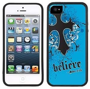 Believe Cross Jesus Christian Handmade iPhone 5 Black Bumper Plastic Case