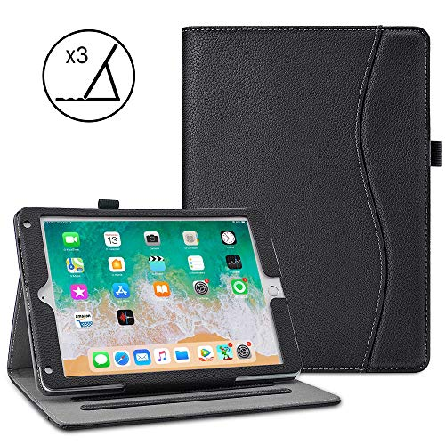 VORI Case for New iPad 9.7 Inch 2018 2017 / iPad Air 2 / iPad Air,Premium Leather Business Multi-Angle Viewing Folio Stand Cover with Card Slots, Auto ()
