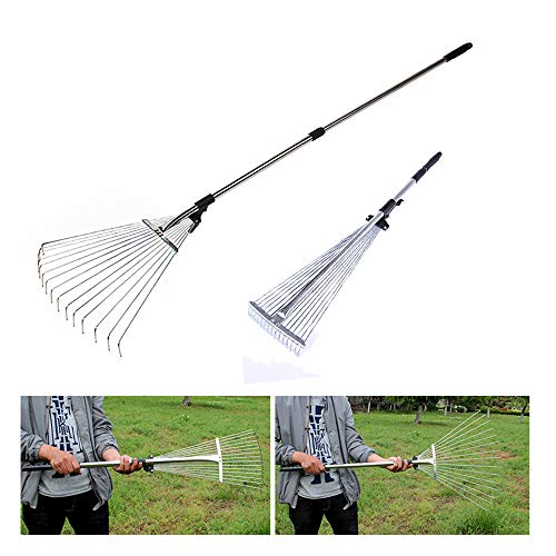 - Yard Rake Metal Collapsible Rake Adjustable Folding Garden Telescopic Rake Camping - Raking Leaves, Grass Rakes│8-23'' Expandable Head Gardening Tool (Silver)