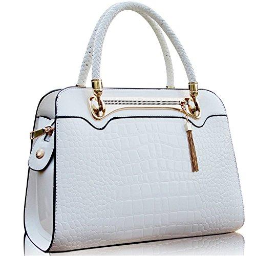 QCKJ-Borsa a spalla da donna, in ecopelle, colore: bianco Bandbag stampa coccodrillo