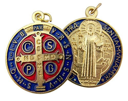 Gold Tone Red and Blue Enamel Saint Benedict Medal Pendant, 1 1/4 Inch