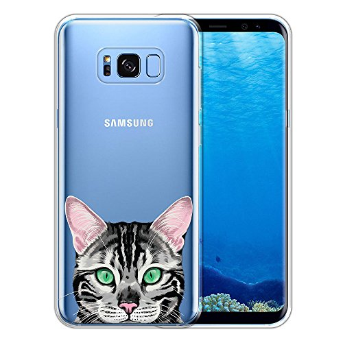 Cats Spotted Silver - FINCIBO Case Compatible with Samsung Galaxy S8+ Plus G955 6.2 inch, Clear Transparent TPU Protector Case Cover Soft Gel Skin for Galaxy S8+ Plus (NOT FIT S8) - Spotted Silver Bengal Kitten Cat