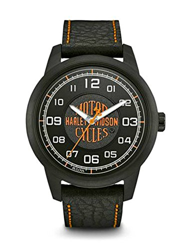 Harley-Davidson Men's Bar & Shield Script Watch, Stainless Steel, Black 78A116