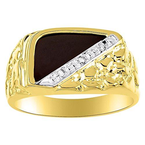 (Mens Diamond & Onyx Ring 14K Yellow or 14K White Gold)
