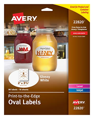 """Avery Print-To-The-Edge Glossy Oval Labels, True Print, 2"""" x"""