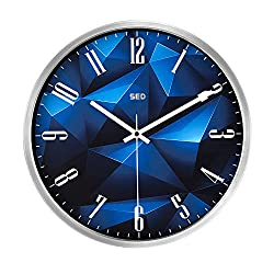 12 Inch Silent Non-ticking Universal Quartz Movement Wall Clock-Large Morden Indoor Outdoor Wall Clocks- Metal Frame Glass Cover And Battery Operated (BlueCrystal, Silver)