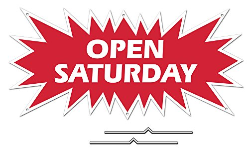 "OPEN SATURDAY Starburst Sign Rider - Red Real Estate Corrugated Sign Kit INCLUDES 2 - 8"" D-Wire Stakes"