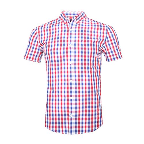 GILBETI Men's Casual Plaid Short Sleeve Button Down Shirts Blue&Red ()