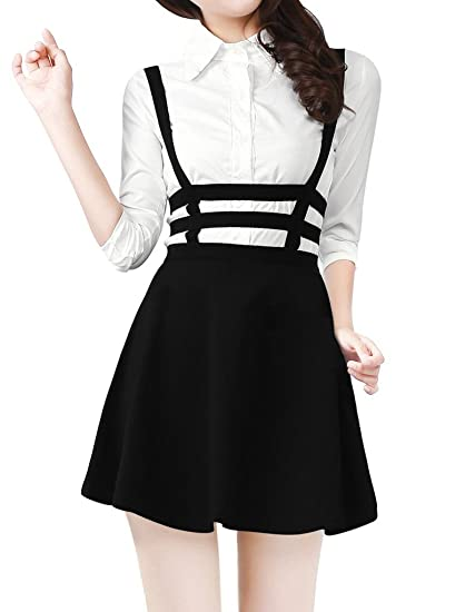 c3a4bf5c76 JL Pretty Girls Mini Skater Suspender Skirt Straps Hollow Retro High Waist  Skirt(One Size