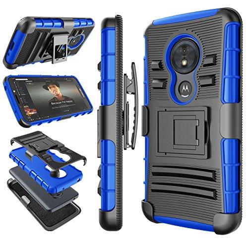 Moto G6 Play Case, 2018 Motorola Moto G6 Forge Holster Clip, Tekcoo  [Hoplite] Shock Absorbing [Blue] Secure Swivel Locking Belt Defender Heavy  Full
