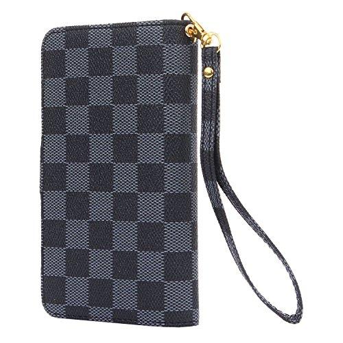 iPhone 7 Plus Hülle - VENTER®Luxus Deluxe Design-Business-Stil Klassisches Plaid überprüfen Ultra große Kapazität abnehmbares Armband-Handgelenk-Bügel-Leder-Schlag-Geldbeutel -Hülle-Abdeckung mit ID-H