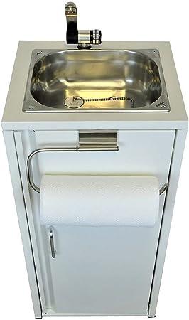 TMM Fregadero portátil con soporte para rollos de cocina, color blanco, incluye accesorios/fregadero para expositor de ventas, camping