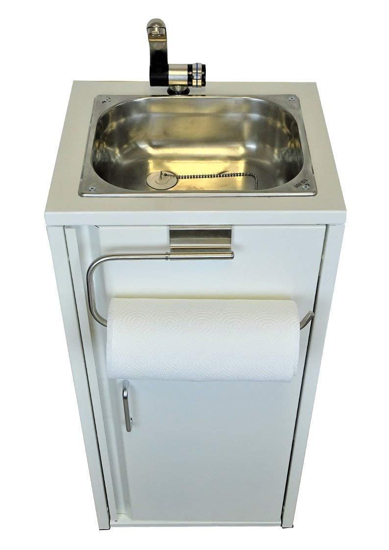 TMM Mobile Lavello Lavabo Lavabo Lavabo Lavabo Lavabo Lavabo con Portarotolo da Cucina Bianco con Accessori//Lavello per Espositore Campeggio