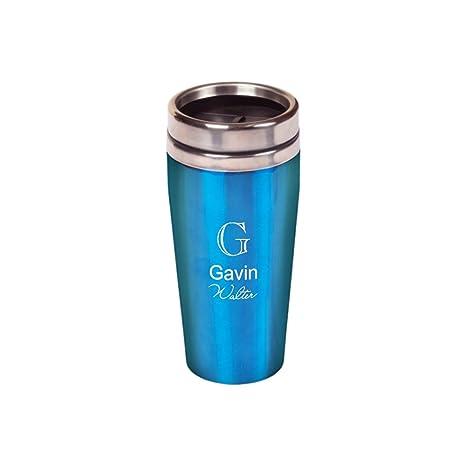 amazon com laser engraved customized 16 oz travel mug blue