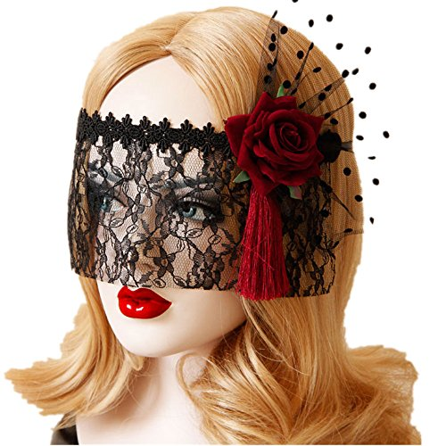 Meiysh Gothic Sexy Cosplay Lace Mask Fancy Dress Gothic Half Face Veil Punk Black Mask (MJ54) (Face Masks Fancy Dress)