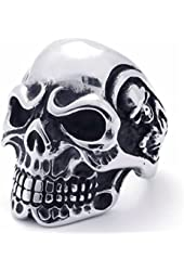US Seller Men's Silver S Steel Skull Biker Ring Size 7-15 SR51