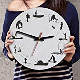 12 Inch Silent Fishing Wood Wall Clocks Birthday Fishing Gifts For Dad Daddy Grandpa Papa Grandfather Husband from Son Daughter Kids Wife Grandson Granddaughter Grandkids Grandchildren Reel Cool Dad