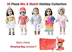 Weardoll 35 Piece American Girl Doll Accessories - 18 inch Doll Clothes Accessories Set Fits American Girl, Our Generation, Journey Girls by by