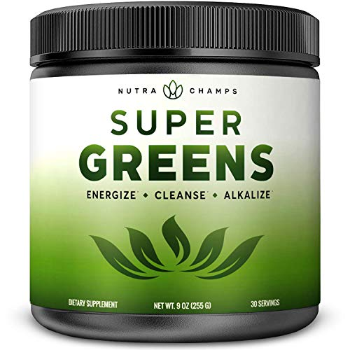 Super Greens Powder Premium Superfood - 20+ Organic Green Veggie Whole Foods - Wheat Grass, Spirulina, Chlorella & More - Antioxidant, Digestive Enzyme & Probiotic Blends | Vegan Juice Supplement (The Best Green Vegetables)