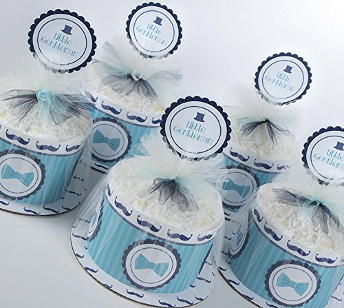 Five ''Little Gentleman'' Mustache Mini Diaper Cakes. Baby Shower Centerpieces. by Sassy and Sweet Boutique