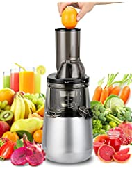 """Slow Masticating Juicer by Tiluxury , Low Speed With Wide Chute Anti-Oxidation ,Whole Fruit and Vegetable Vertical Cold Press Juicers(250W AC Motor,40 RPMs,3"""" Big Mouth),BPA Free (Silver Gray)"""
