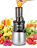 Slow Masticating Juicer by Tiluxury , Low Speed With Wide Chute Anti-Oxidation ,Whole Fruit and Vegetable wheatgrass Vertical Cold Press Juicers(250W AC Motor,40 RPMs,3'' Big Mouth),BPA Free