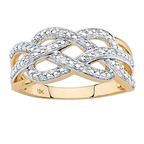 Solid 10k Yellow Gold Round White Diamond Accent Infinity Crossover Ring