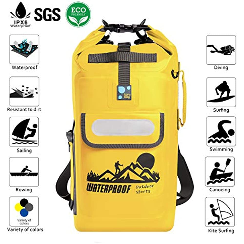 b318306d4871 IDRYBAG Dry Bag Waterproof Backpack Floating 20L Roll Top Compression Sack  Keeps Gear Dry for Kayaking